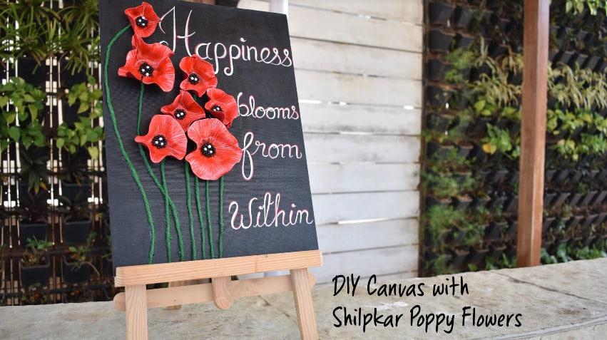 canvas with shilpkar poppy flowers