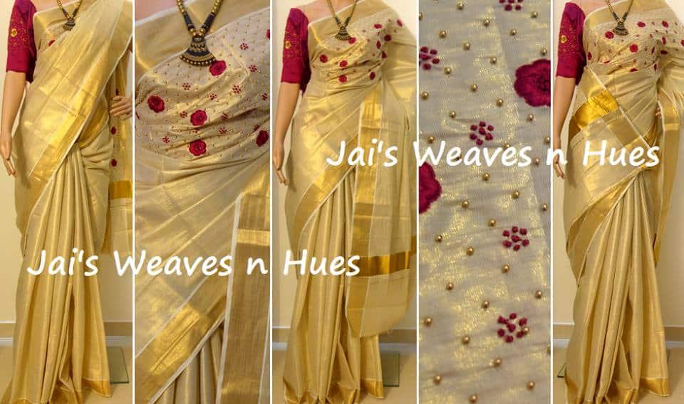 Onam Special Designer Kerala Saree Simple Craft Ideas