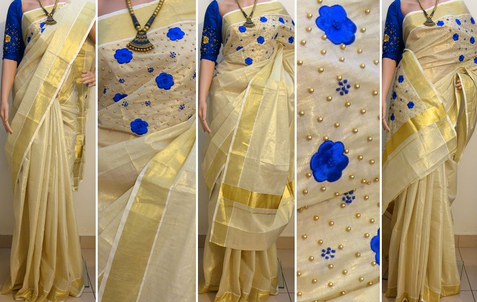 Onam Special Designer Kerala Saree Simple Craft Ideas