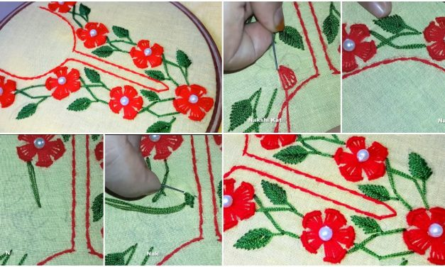 Buttonhole stitch neck design for kurthi