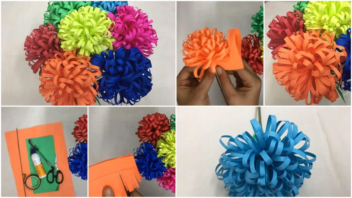 How To Make Fluffy Flowers From Paper Simple Craft Ideas