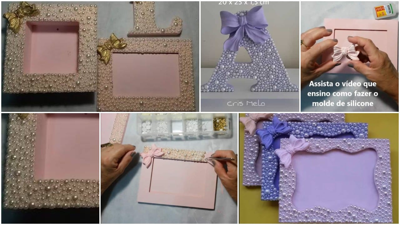 Picture frame decorated with pearls