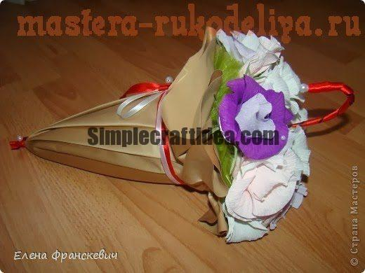 Decorate flowerbed flowers with umbrella