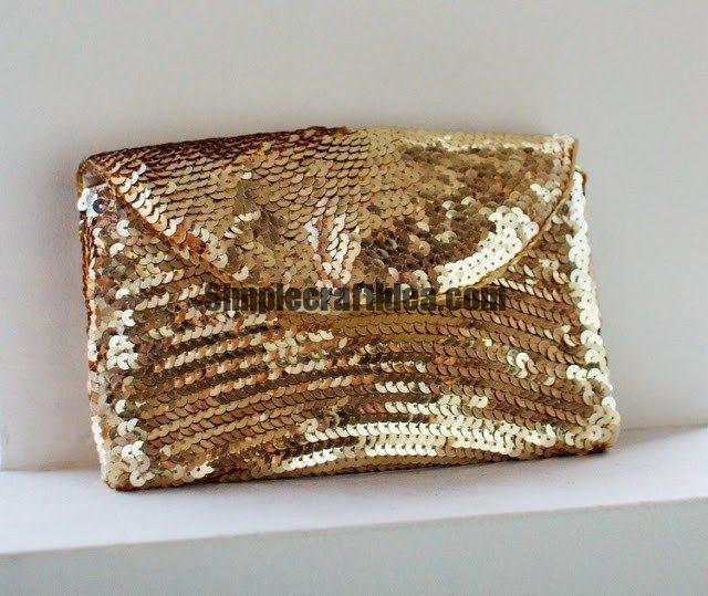 How quickly and easily sew sequins clutch