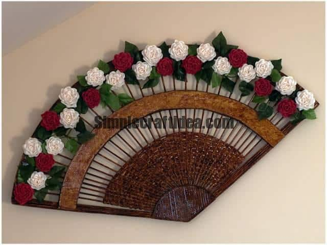 Wonderful decorative fan from newspaper tubes
