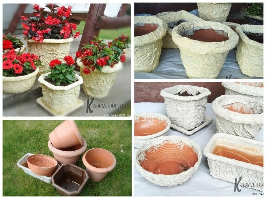 The idea of ​​decorating flower pots