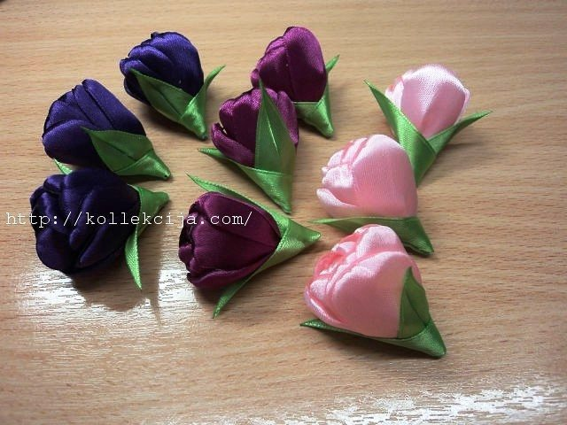 Tulips from satin ribbons