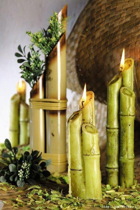 Candles Bambo Stalks Simple Craft Ideas