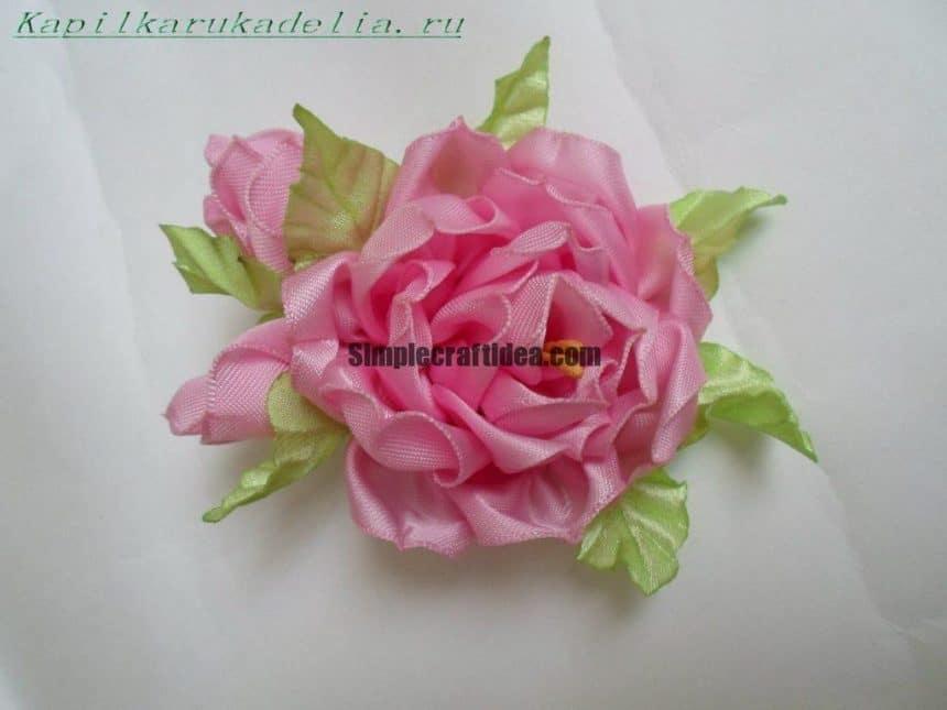 Satin ribbon peony flower