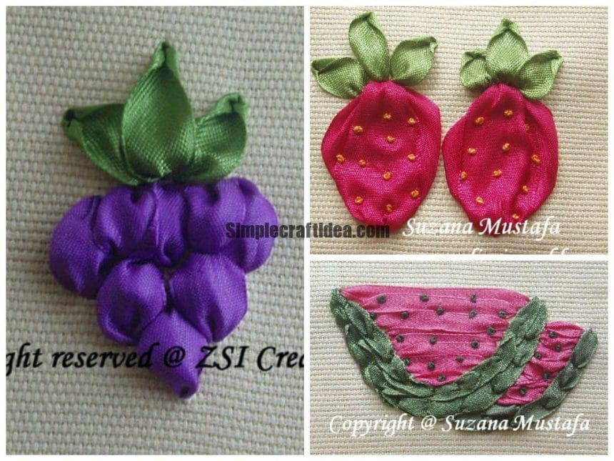Ribbon embroidery grape,strawberry and watermelon