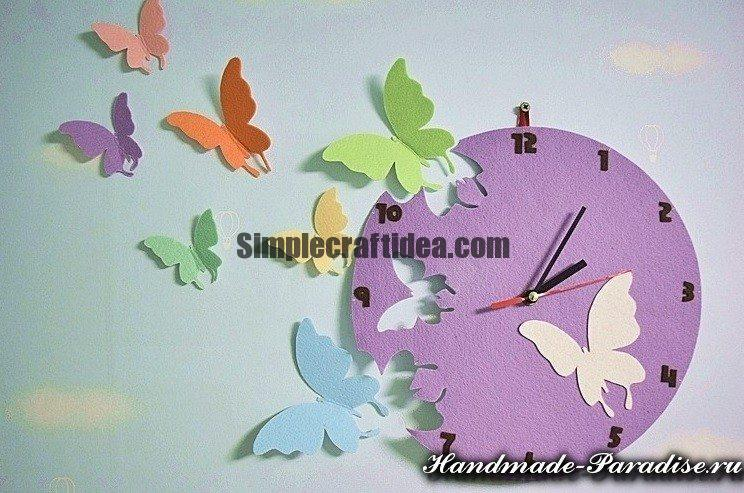 Watch with butterflies made of felt