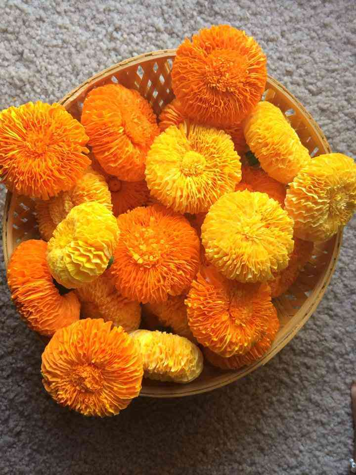 Marigold Flower With Crepe Paper Simple Craft Ideas