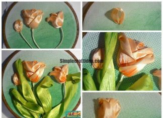 Stained canvas embroider tulip - Craft