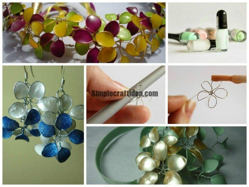 Nail polish flower ornaments