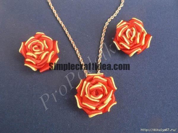 How to make a two colour satin ribbon rose
