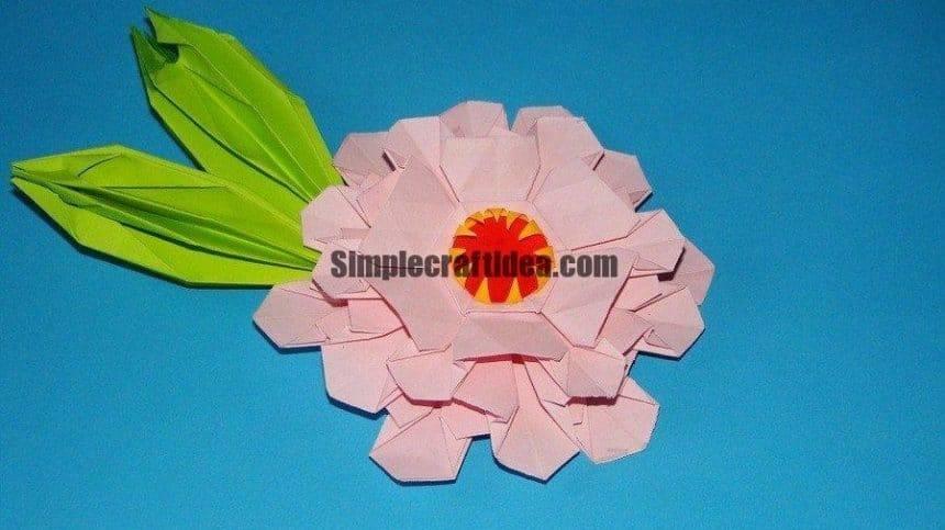 Origami zinnia flower
