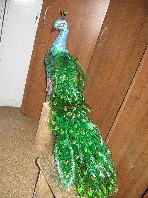How to make beautiful peacock design with waste plastic for Best out of plastic