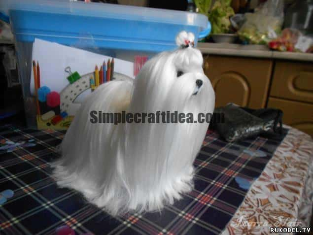 "Dog ""Maltese"" of wool in the technique of dry felting"