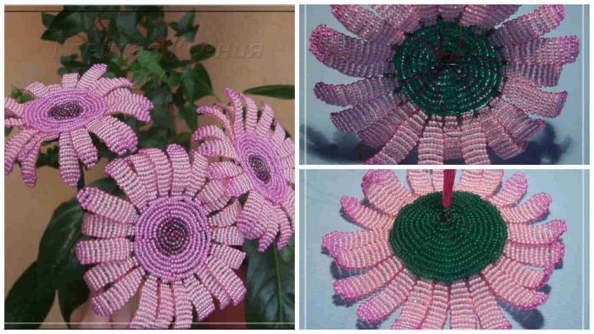 How to make a beaded gerbera flower