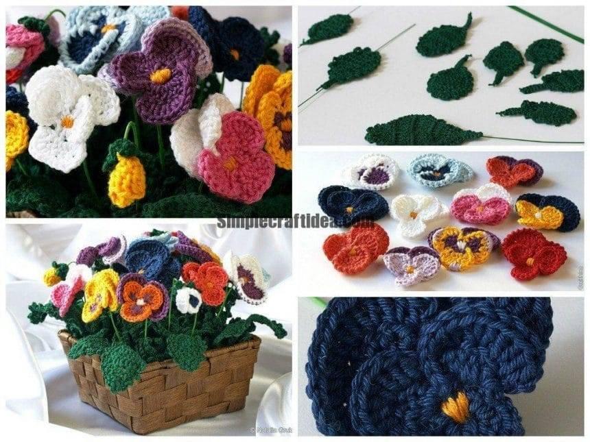 Crocheted pansies flowers