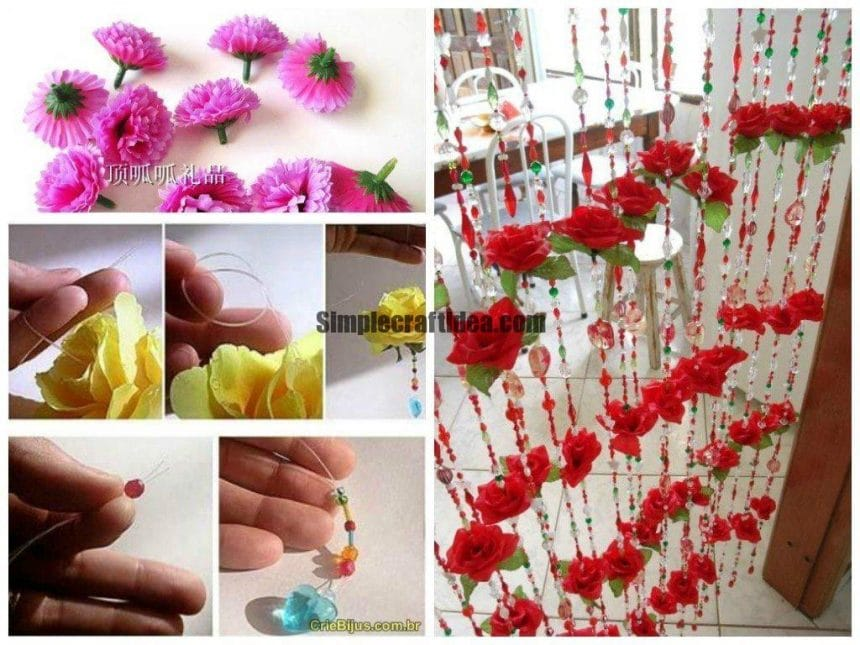 Curtains made of beads and artificial flowers