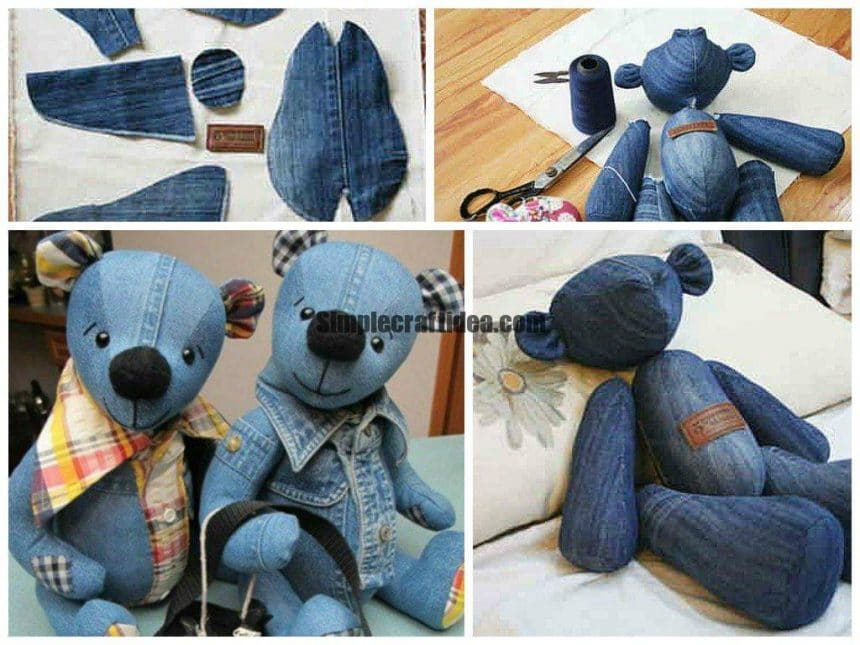 Teddy made from recycled jeans with mold