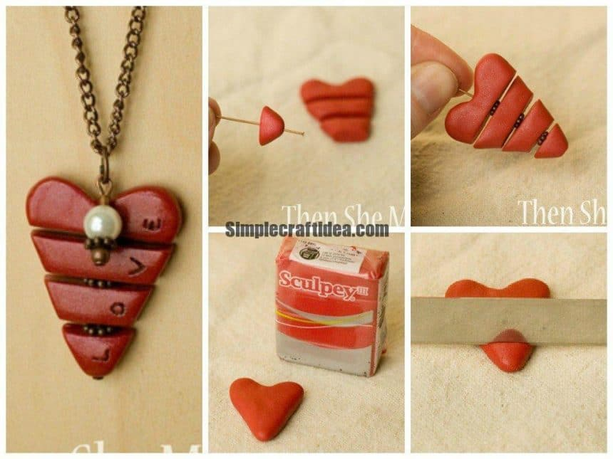 Valentine pendant made of polymer clay