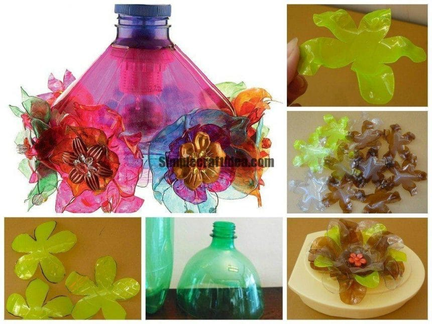 Pet bottle flower lamp shade