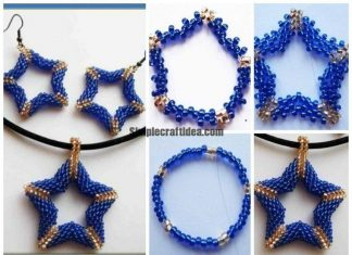 Beads star earrings and pendant