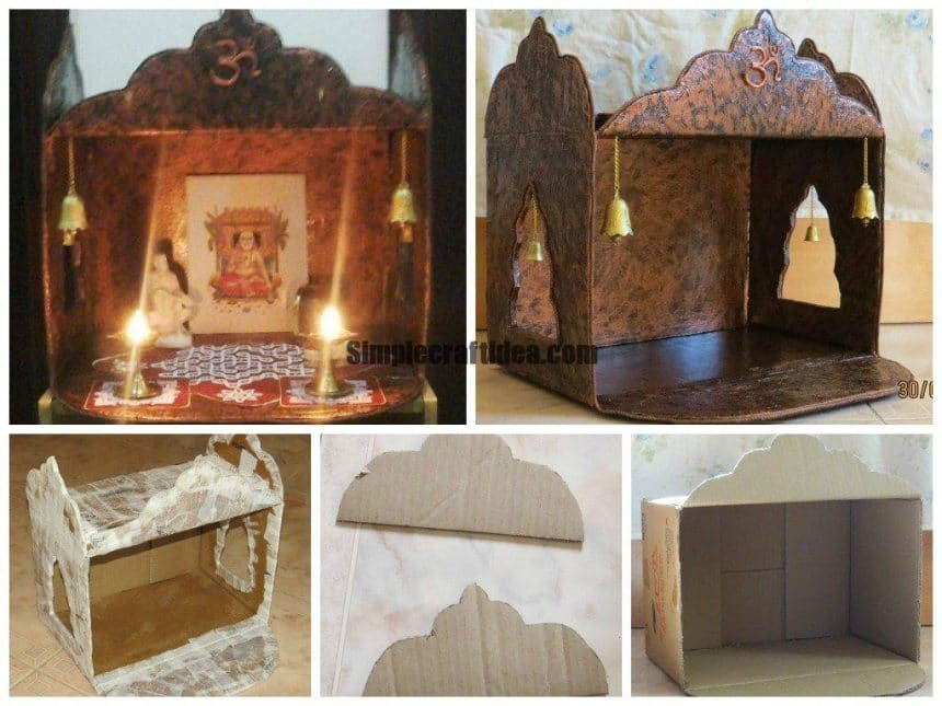 Pooja mandir from a carton