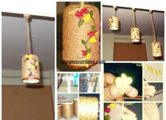 Made lamps using mineral water bottles