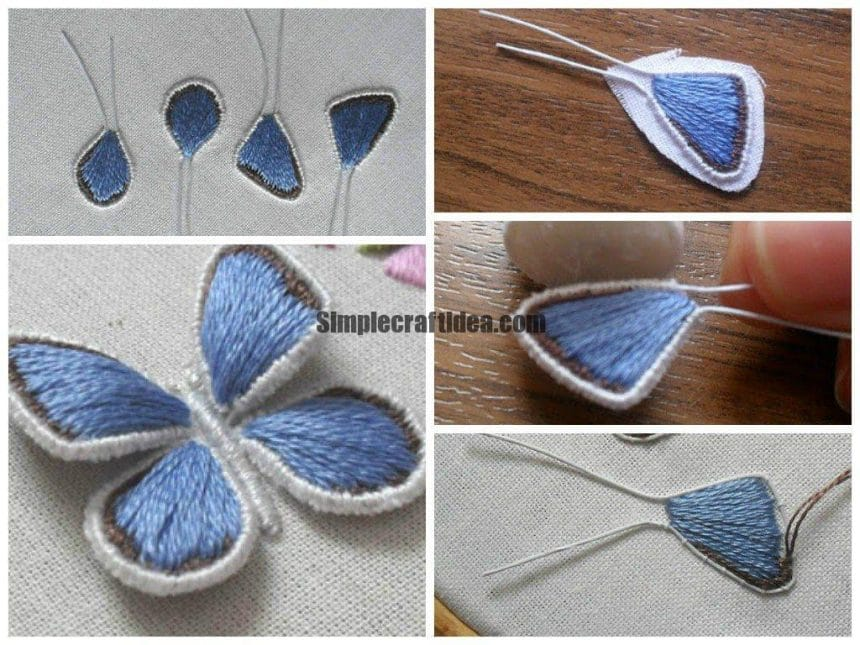 How to embroider butterfly wings