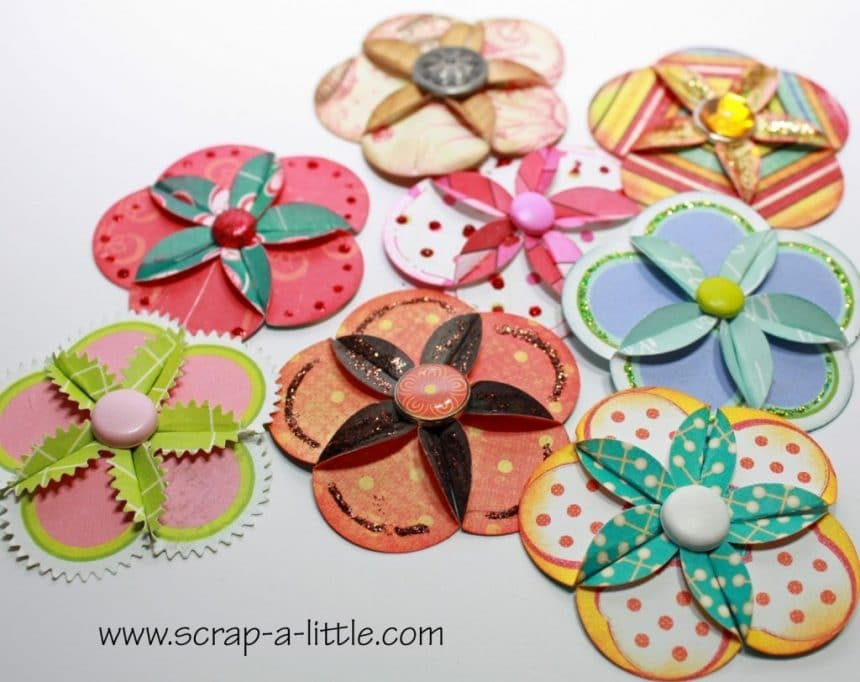 How to make paper flowers for scrap booking simple craft ideas for the manufacture of these colors you will need almost the same materials and tools double sided decorative paper for flowers glue ink mightylinksfo