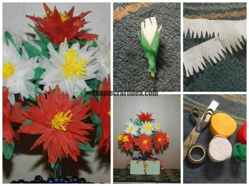 Crepe paper chrysanthemum flowers