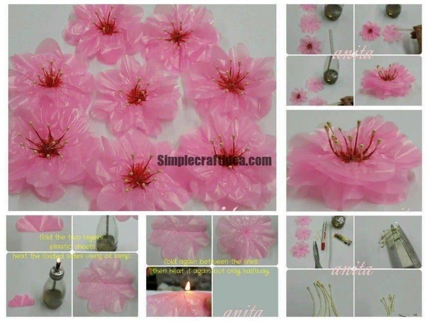 Tutorial for cherry blossoms using plastic bag