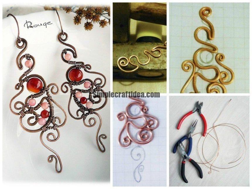 """Earrings """"Monogram"""" of wire and stones"""