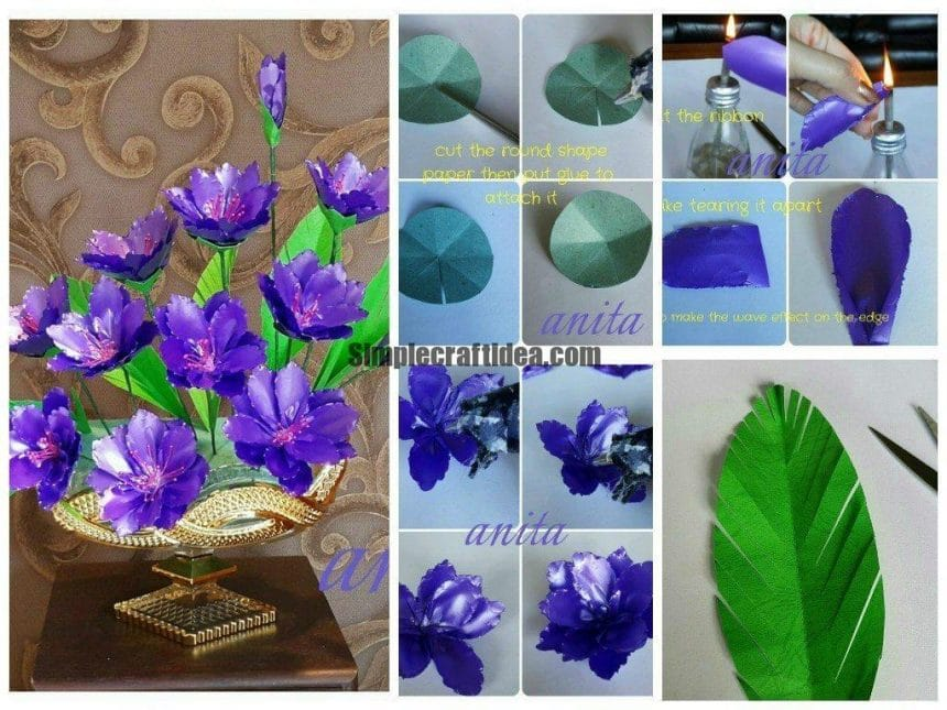 Purple flowers using polypropylene ribbon
