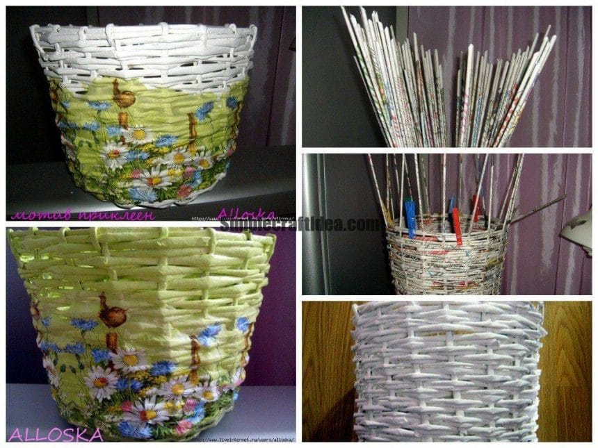 "Basket ""Summer"" from newspaper tubes with decoupage"