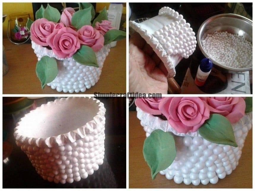 Thermocol Balls Decorate Flower Vase