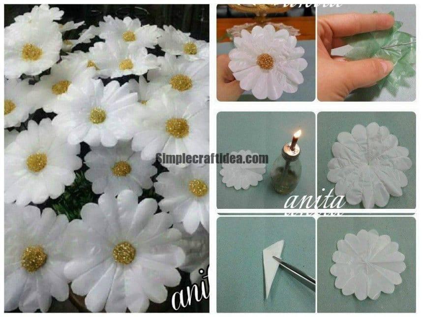 Tutorial for Daisy flowers using plastic bag