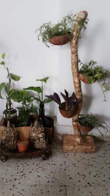 Coconut Shell Flower Planter Simple Craft Ideas