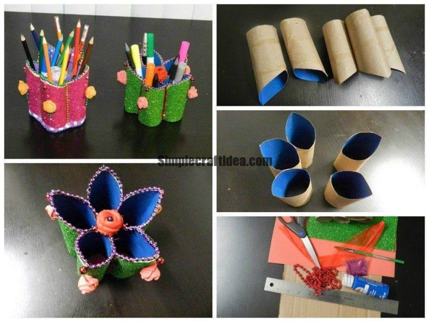 Flower shaped pen stand