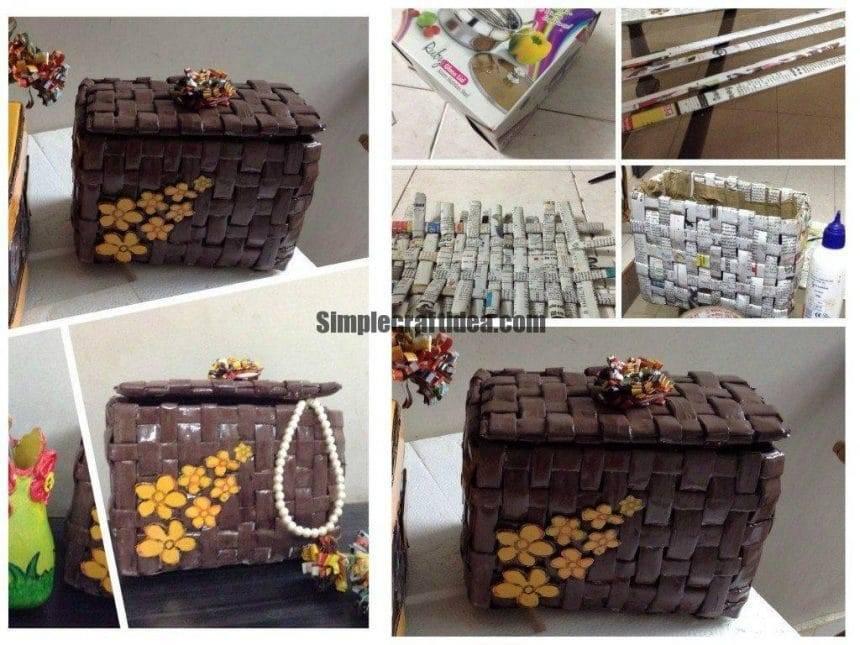 Newspaper weaving basket