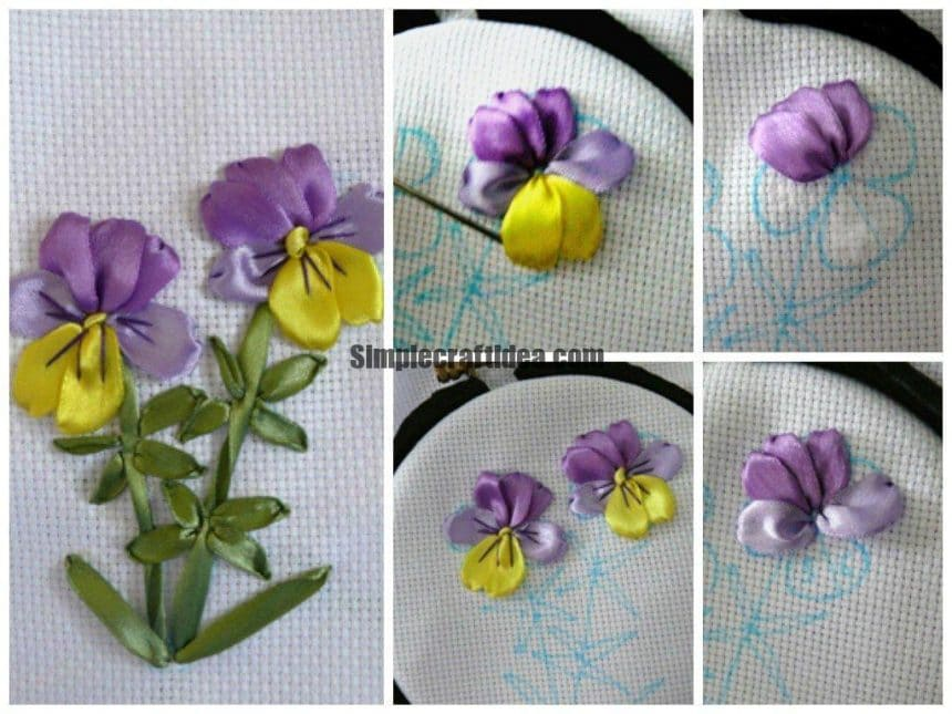embroider violet satin ribbons