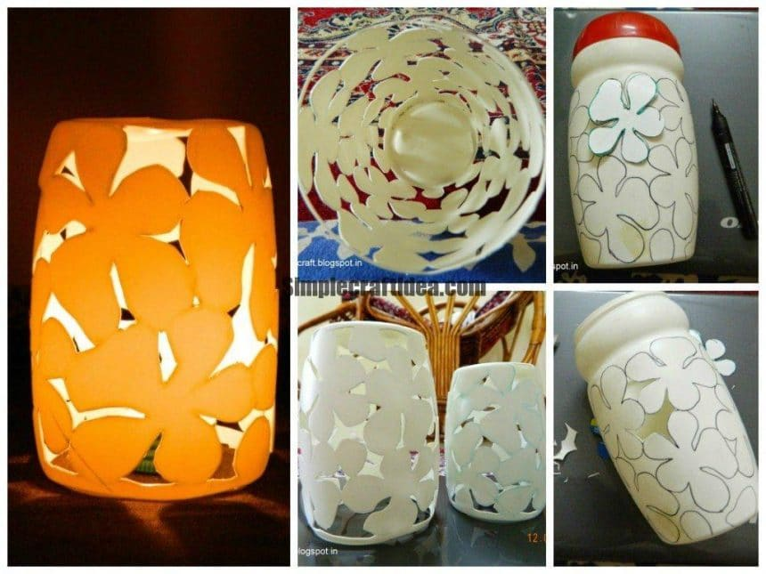 Plastic bottle lamp shade