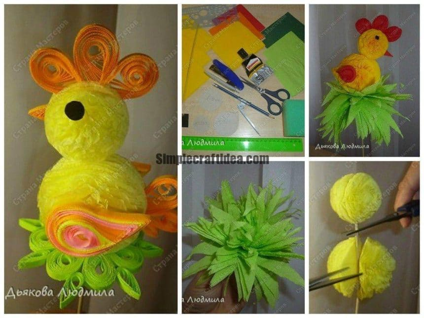 Easter chick of paper napkins