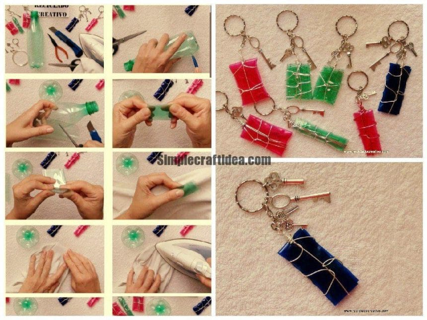 Recycled green bottles keychains