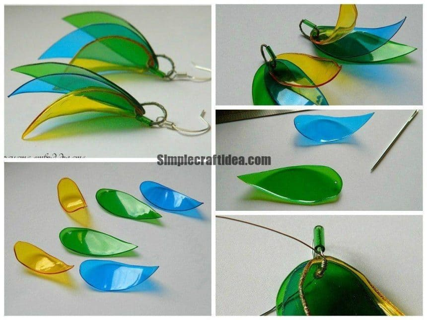 Earrings with leaves of plastic bottles