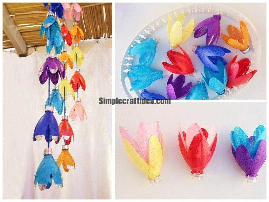 Recycled Plastic Bottle Flower Mobile Simple Craft Ideas