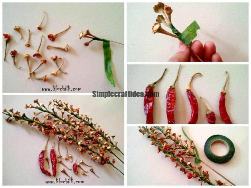 How to make flowers from dry chilly calyx